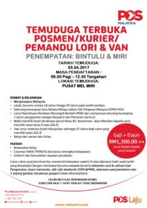 iklan-jawatan-kosong-2017-posmenkurier-pemanduloridanvan-bintulu-miri2